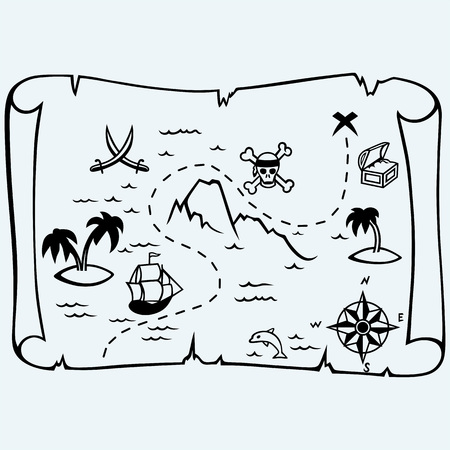 scallywag: Island treasure map. Isolated on blue background. Vector silhouettes Illustration