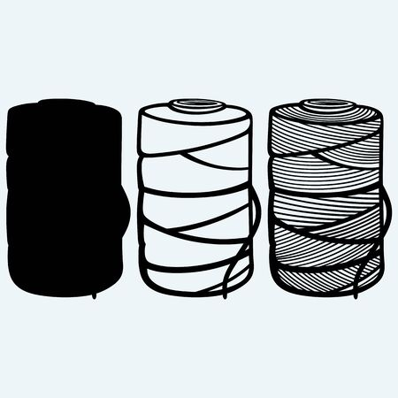twine: Roll of twine cord. Isolated on blue background. Vector silhouettes