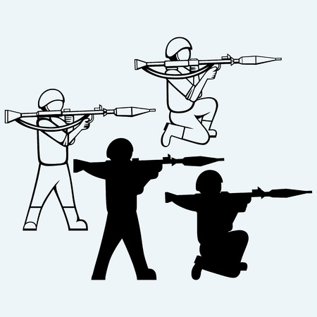 Mercenary shoot with a bazooka. Isolated on blue background. Vector silhouettes Vectores