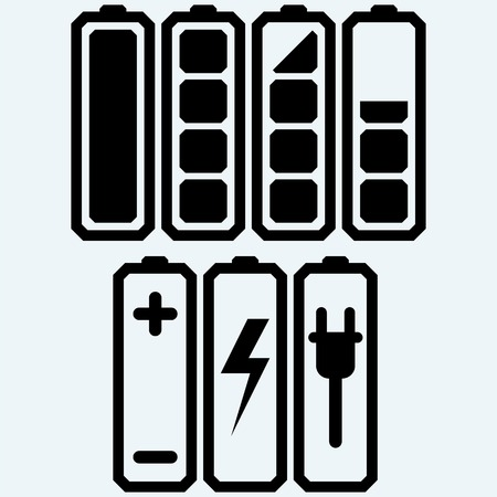 Battery charge level indicators. Isolated on blue background. Vector silhouettes Illustration