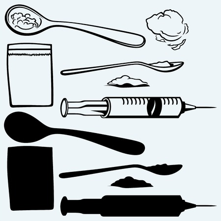 doodle art: Drug syringe. Cooked heroin on spoon. Isolated on blue background. Vector silhouettes