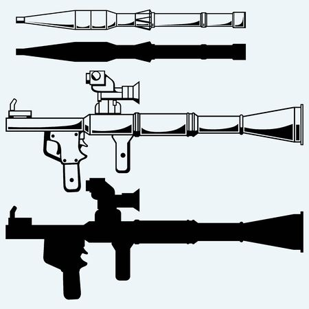 launcher: Anti-tank rocket propelled grenade launcher - RPG 7. Vector silhouettes