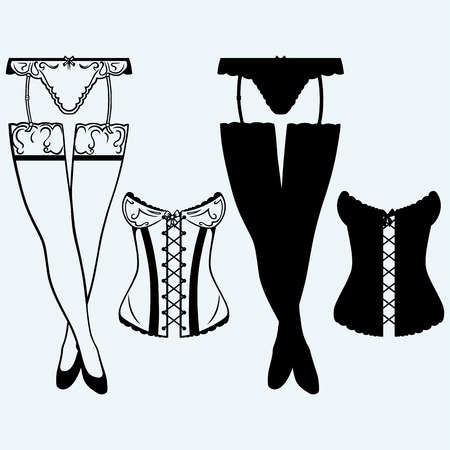 lace bra: Woman in corset, fashion lingerie. Isolated on blue background. Vector silhouettes Illustration