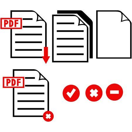 blatt: PDF-Symbol. Isoliert auf blauem Hintergrund. Vektor-Silhouetten