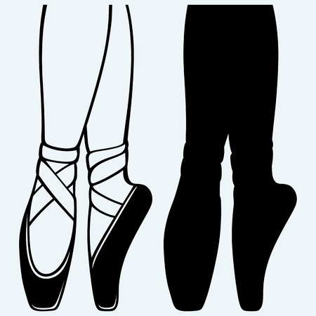 Legs and shoes of a young ballerina. Isolated on blue background. Vector silhouettes