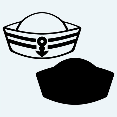 sailor hat: Sailor cap. Isolated on blue background. Vector silhouettes Illustration