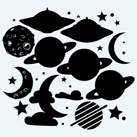 tethys: Outer space: the moon with craters, the star, the planet Saturn and UFOs. Isolated on blue background. Vector silhouettes Illustration