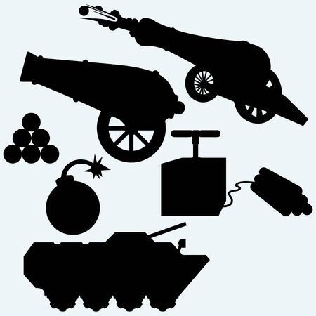 shrapnel: Set artillery, cannon, tank and bombs. Isolated on blue background. Vector silhouettes