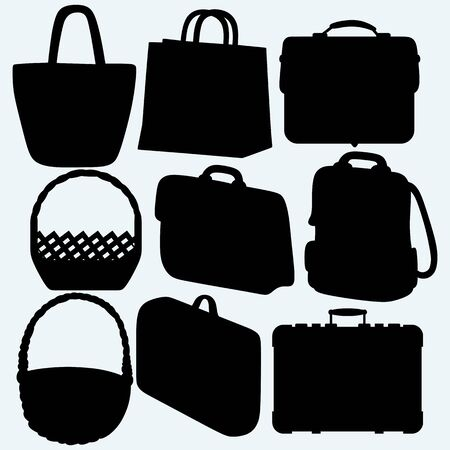 simple store: Different types of bags and baskets. Isolated on blue background. Vector silhouettes Illustration