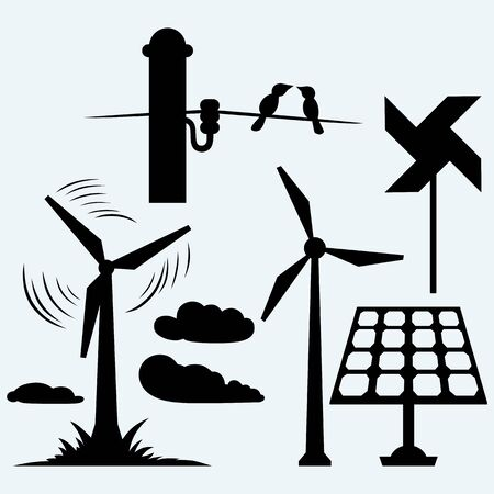 modern illustration: Solar panel and windmill, wires on a pole. Isolated on blue background. Vector silhouettes Illustration