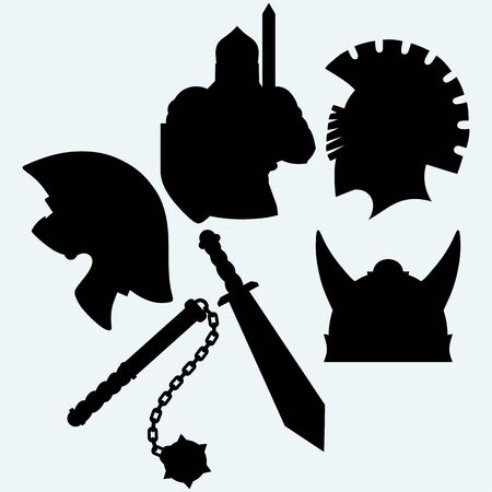 medieval knight: Crusader metallic knights helmet, sword and mace. Isolated on blue background. Vector silhouettes
