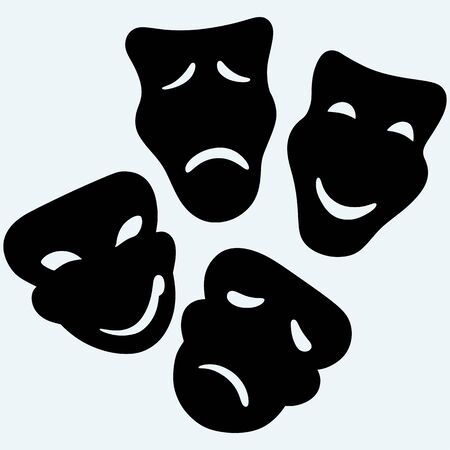 moods: Theater icon with happy and sad masks. Isolated on blue background. Vector silhouettes Illustration