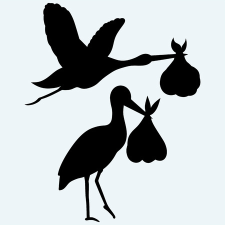 Stork with baby. Isolated on blue background. Vector silhouettes Illustration