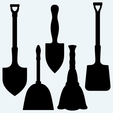 dustpan: Shovels, broom and dustpan. Isolated on blue background. Vector silhouettes