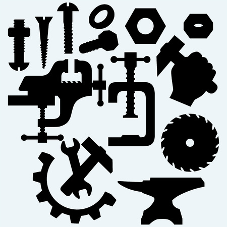saw blade: Set of tools: vice, spanner, hammer, Circular saw blade, anvil and screws. Isolated on blue background. Vector silhouettes