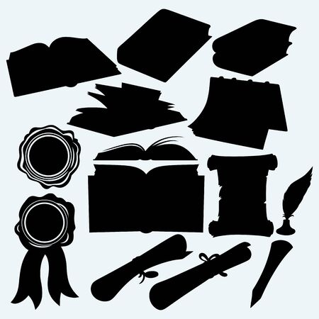 books isolated: Set books and parchments scrolls. Isolated on blue background. Vector silhouettes