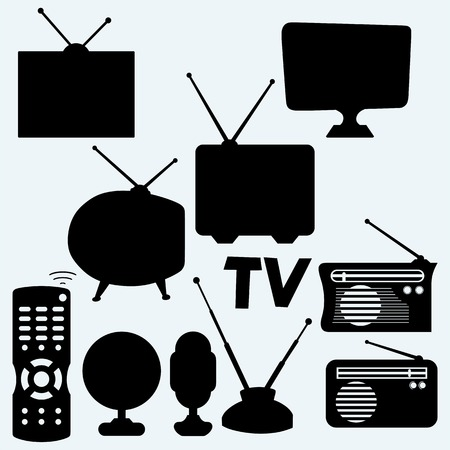 Set of equipment: television, antenna, remote control, radio and webcam. Isolated on blue background. Vector silhouettes