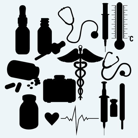 group therapy: Medical supplies and equipment. Isolated on blue background. Vector silhouettes Illustration
