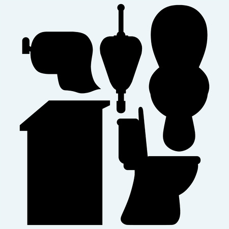 Toilet cubicle, urinal and toilet paper. Isolated on blue background. Vector silhouettes