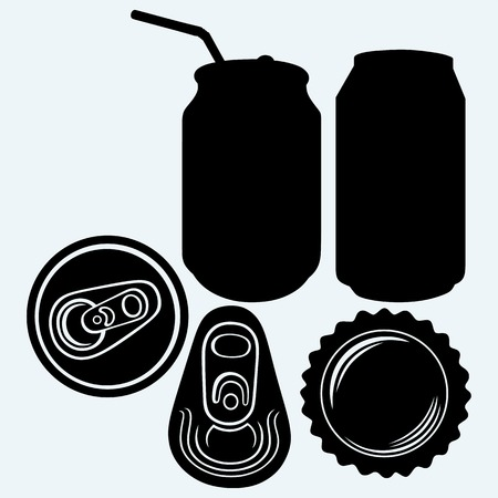 booze: Bottle cap beer. Isolated on blue background. Vector silhouettes