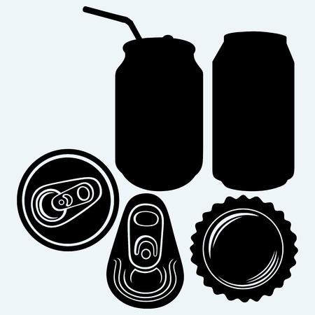 jarra de cerveza: Bottle cap beer. Isolated on blue background. Vector silhouettes
