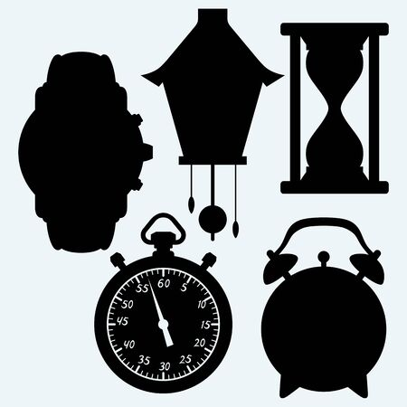 cuckoo clock: Devices quantifiable time, different clock. Isolated on blue background. Vector silhouettes Illustration