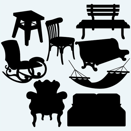 hammock: Set of furniture: rocking chair, stool, sofa, bench and hammock. Isolated on blue background. Vector silhouettes Illustration