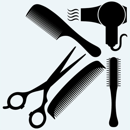 plastic comb: Scissors, comb for hair and dryer. Vector silhouettes Illustration