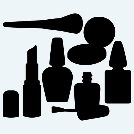make up: Make-up brushes in holder and cosmetics. Isolated on blue background. Vector silhouettes