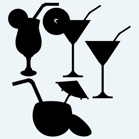 tropical drink: Tropical fresh and Coconut cocktails drink. Isolated on blue background. Vector silhouettes