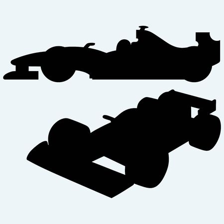 indy: Race car. Isolated on blue background. Vector silhouettes