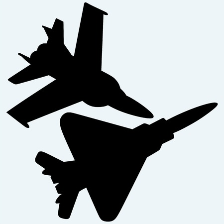 f18: An F-18 jet fighters flying in the sky. Isolated on blue background. Vector silhouettes