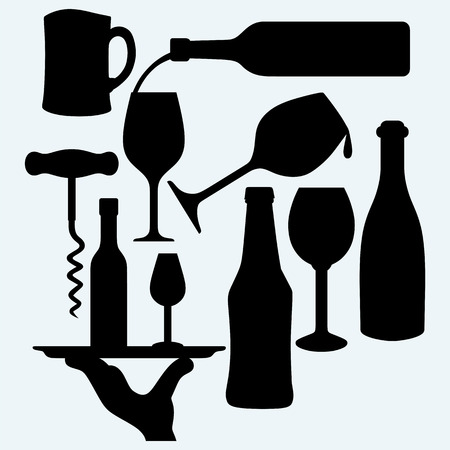 glass bottle: Set of alcoholic beverages: a bottle of wine with a glass bottle on a tray and a glass of beer. Isolated on blue background. Vector silhouettes Illustration