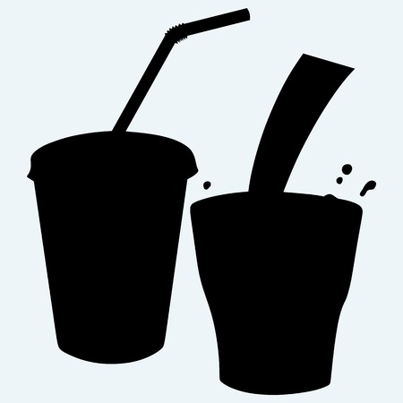 soda splash: Closed cup with a straw and a splash of cola. Isolated on blue background. Vector silhouettes Illustration