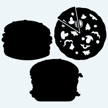 fattening: Circular cut pizza and hamburger. Isolated on blue background. Vector silhouettes