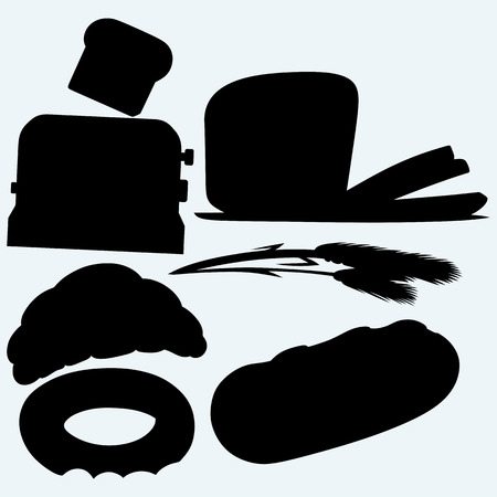 toasted: Bakery products: bread, loaf, croissant, bagel, ears of wheat and a toaster with toasted slice of bread. Isolated on blue background. Vector silhouettes
