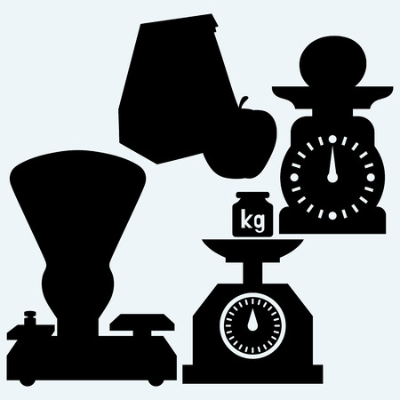 weight scales: Weight scale, weight, apple and Paper bag. Isolated on blue background. Vector silhouettes