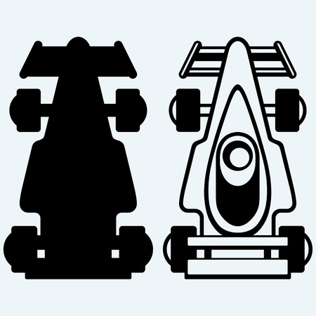 bolide: Race car. Isolated on blue background. Vector silhouettes