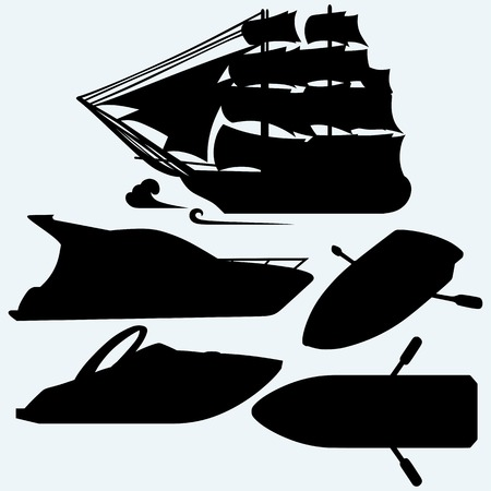 barque: Wooden boat with paddles, sailing ship and luxury yacht. Isolated on blue background.  silhouettes Illustration