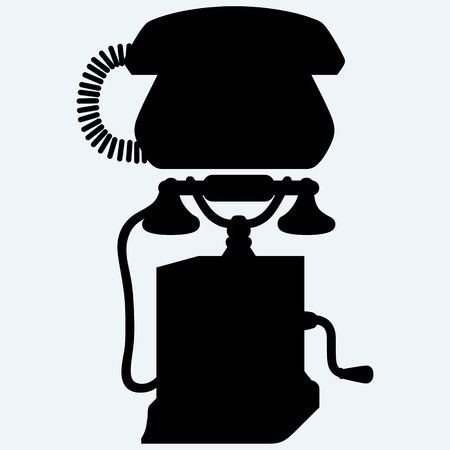 dialplate: Two phones from different eras. Isolated on blue background. Vector silhouettes Illustration