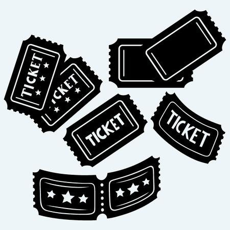 biglietto: biglietti del cinema SET. Isolato su sfondo blu. Il vettore proietta