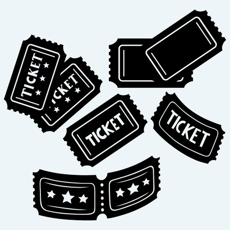 old movie: Set cinema tickets. Isolated on blue background. Vector silhouettes Illustration