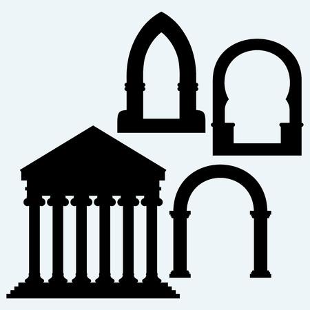arcos de piedra: Arco clásico y Pórtico un antiguo templo. Aislado en el fondo azul. Siluetas del vector