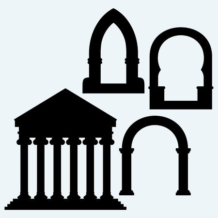 arch: Classic arch and Portico an ancient temple. Isolated on blue background. Vector silhouettes