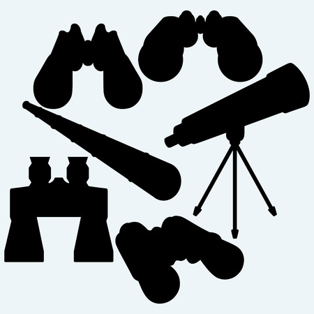 spyglass: Binoculars, spyglass and telescope in tripod. Isolated on blue background. Vector silhouettes