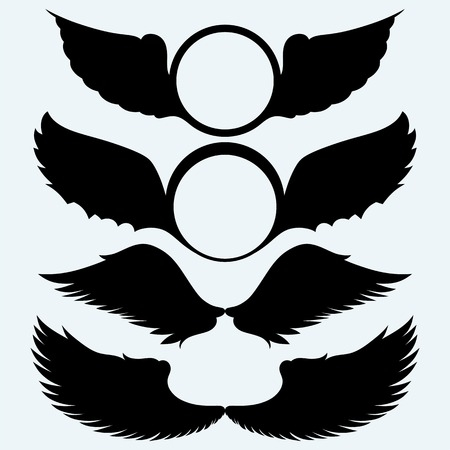 wings vector: Angel wings and shield with wings. Isolated on blue background. Vector silhouettes