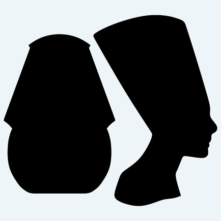 face mask: Portrait of Pharaoh and Nefertiti. Isolated on blue background. Vector silhouettes