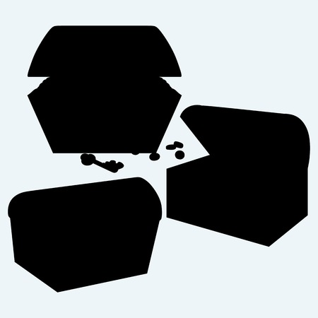 hoard: Set chest. Isolated on blue background. Vector silhouettes