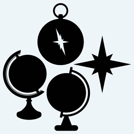 compass vector: Compass and globe. Isolated on blue background. Vector silhouettes