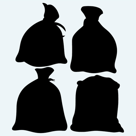 grain storage: Set sacks of grain. Isolated on blue background. Vector silhouettes